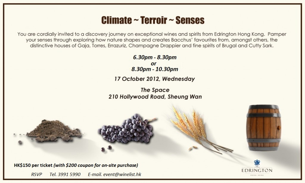 感受葡萄酒的土壤、氣候與釀酒工藝 Sensing the Terroir, Climate & Winemaking in Wines